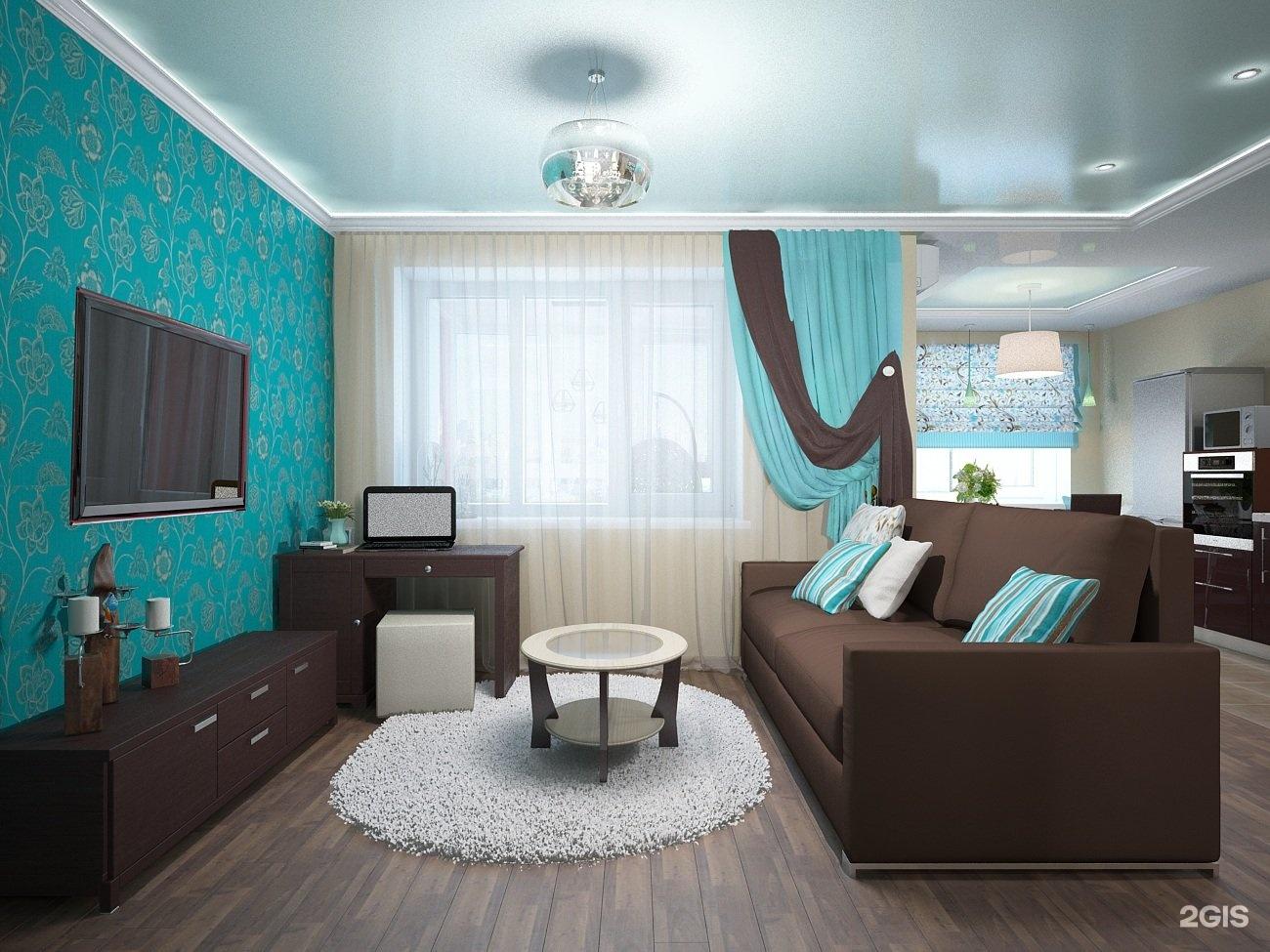 Коричнево-бирюзовый интерьер гостиной фото